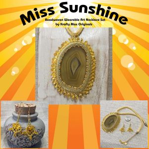 Miss Sunshine Beadwoven Wearable Art Necklace and Earring Set