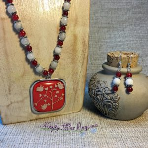 Orange and White Bird from Grandmothers Stash Necklace and Earrings Set