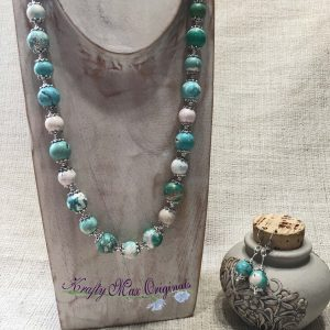 Turquoise Matte Stone and Silver Plated Findings Necklace Set