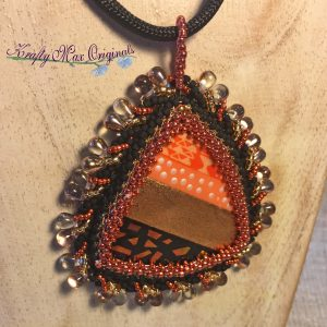 Orange, Black and GOLD Handmade Beauty Wearable Art from the Bead Peeps Swap N Hop 2017