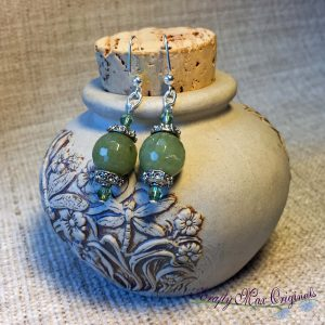Shades of Green Earrings with Swarovski Crystals