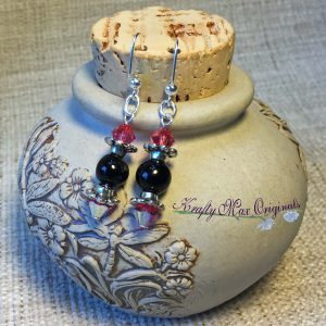 Pink Swarovski Crystal and Black Onyx Earrings