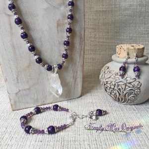 Purple Swarovski Crytsals and Quartz Crystal Set with Bracelet and Earrings