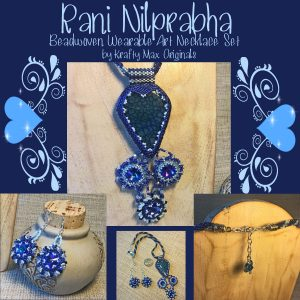 Rani Nilprabha Beadwoven Wearable Art Necklace and Earrings with Blue Dragon Vein and Swarovski Crystals