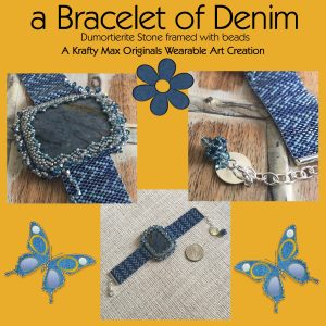 a Bracelet of Denim Wearable Art – Dumortierite Framed with Beads