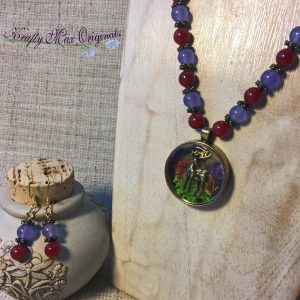 Red and Purple with Deer Scene Drop Necklace and Earrings Set