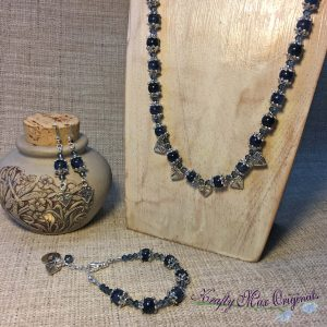 Denim Swarovski Crystals and Gemstones with Dragonfly Necklace and Earrings Set