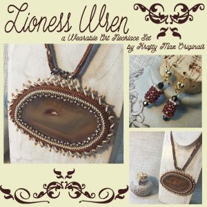 Lioness Wren – Brown Agate Slice Wearable Art Necklace and Earrings Set