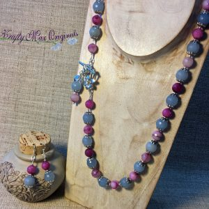 Pink and Blue Gemstone with Front Clasp Necklace and Earrings Set