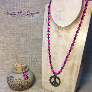 Pink and Purple Necklace Set with Hematite Peace Sign