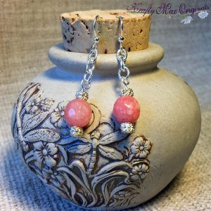 Little Pink and Silver Plated Drop Earrings