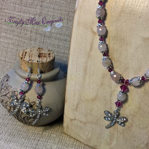Pink on Pink Necklace and Earrings with Dragonfly (Dragonflies)