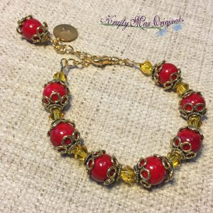 Red and Yellow Bold Gold Bracelet