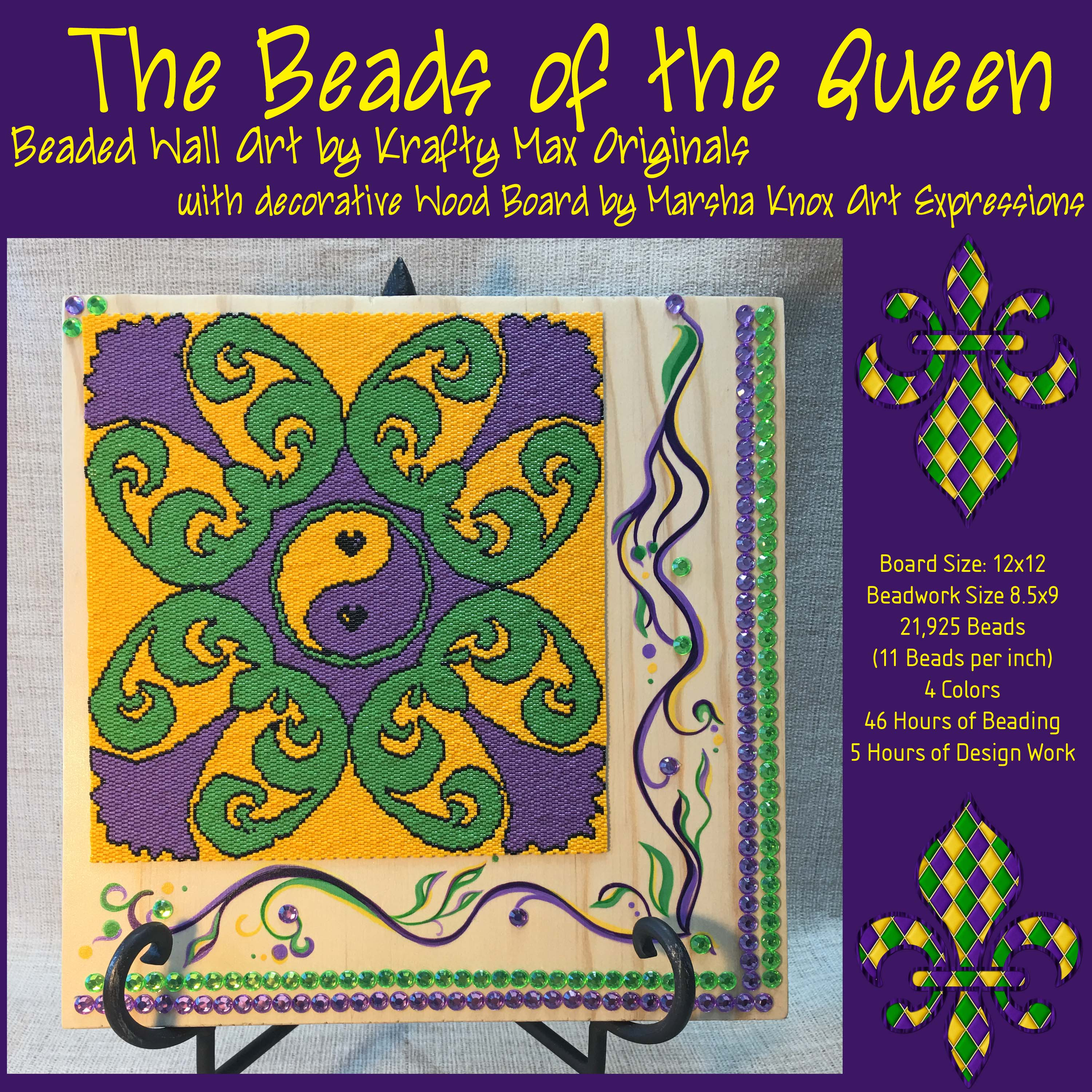 The Beads Of The Queen Beadwoven Wall Art With Hand Painted Wood By Marsha Knox Art Expressions