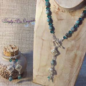 Aqua Teal Dangle Necklace with Swarovski Crystals and Gemstones