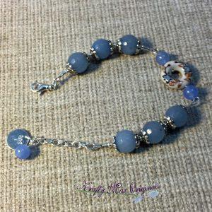 Blue Gemstone with Ceramic Disc Center Bracelet