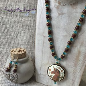 Cloisonne Unicorn from Grandmothers Stash with Teal Swarovski Crystals and Brown Gemstones Necklace Set
