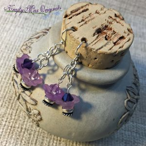 Purple Flower Swarovski Crystal Earrings