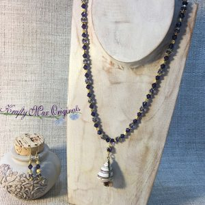 Purple Shell with Gold Plating and Swarovski Crystals from Grandmothers Stash – Necklace and Earrings Set