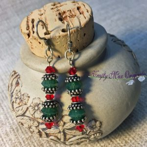 Red and Green Christmas Swarovski Crystal Earrings