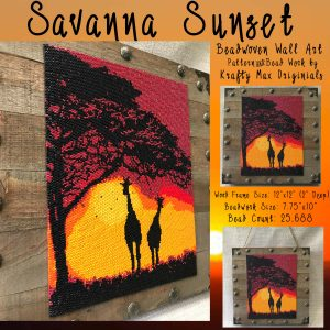Savanna Sunset Beadwoven Wall Art with Giraffes