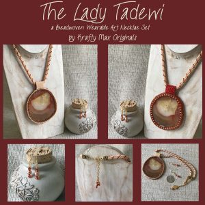 The Lady Tadewi Beadwoven Wearable Art Necklace and Earings Set