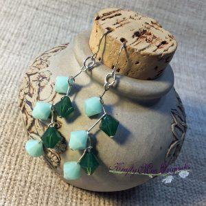 Green on Green Swarovski Crystal Earrings