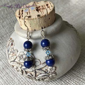 Blue Swarovski Pearls and Swarovski Bi-Cone Earrings