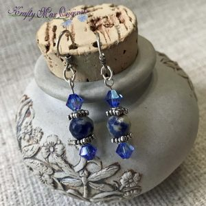 Blue Swarovski Crystals with Solalite Beads Earrings