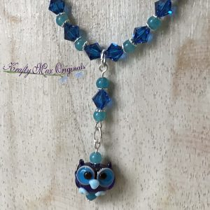 Blue and Teal Owl from May Beads Necklace and Earrings Set