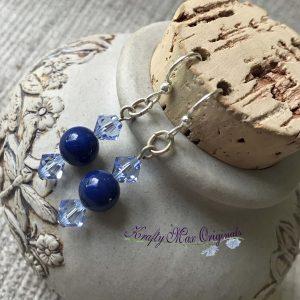 Blue Swarovski Pearls and Blue Swarovski Crystals Earrings