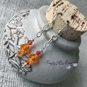 Fire Opal and Orange Swarovski Crystal Earrings