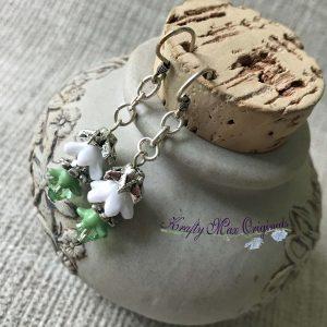 Green and White Swarovski Crystal Flower Earrings
