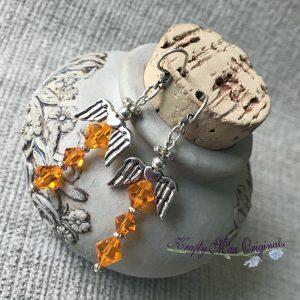 Orange Swarovski Crystal Angel Earrings