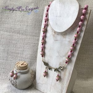 Pink on Pink with a Branch Necklace and Earrings Set