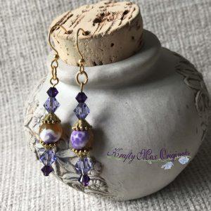 Purple Swarovski Crystals and Gemstone Earrings