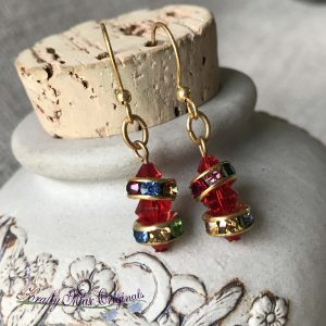 Red Swarovski Crystals with Multi Colored Spacer Earrings