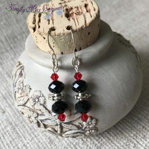 Red and Black Swarovski Crystal Earrings