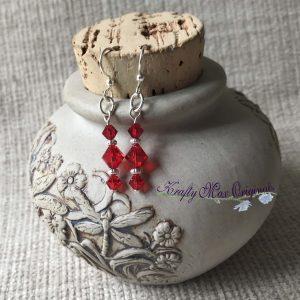 Simple Red Swarovski Crystals Earrings
