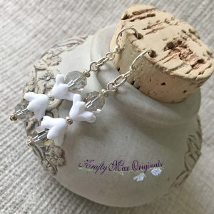 White Flowers Cantaloupe Swarovski Crystal Earrings