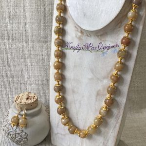 Gold Yellow on Yellow Gold Necklace and Earrings Set