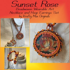 Sunset Rose Beadwoven Wearable Art Necklace and Hoop Earrings Set
