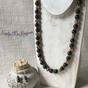 Black Onyx and Gold Plated Beads Necklace and Earrings Set