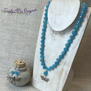 Blue and Swarovski Crystal Butterfly Necklace and Earrings Set