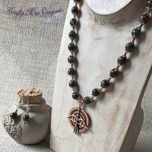 Copper Arrow with Mixed Gemstone Beads and Silver Plated Beads and Findings Necklace Set