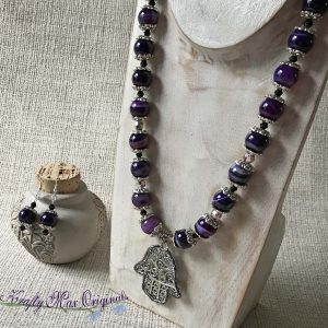 Purple Banded Agate with Swarovski Crystals and an Encrusted Hand Necklace Set