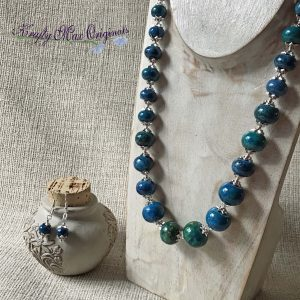 Teal Graduated Gemstones Necklace and Earrings Set