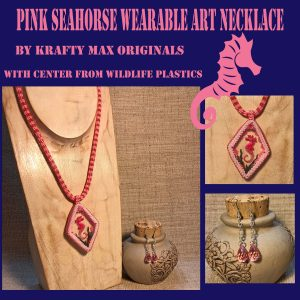 Pink Seahorse Wearable Art Necklace Set with Center from Wildlife Plastics