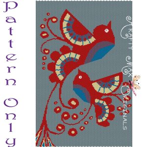 Tole Painted Delicate Birds Beadwoven Wall Art Pattern RETAIL ONLY – PATTERN ONLY
