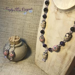 Purple Ceramic Owl with Gemstones and Swarovski Crystals Set